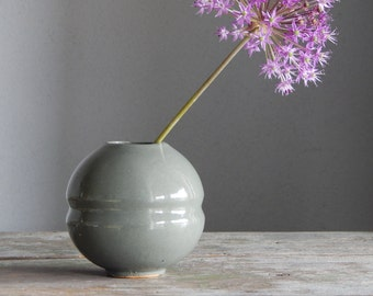 Soviet Vintage Ceramic Vase Greenish Gray Vase 1980-s Small Decorative Vase Made In USSR Soviet Design Retro Vase