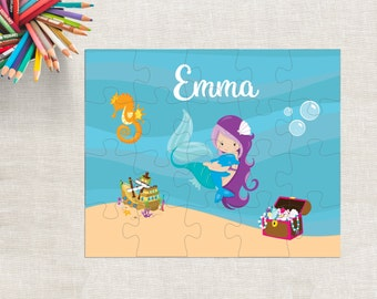 "Mermaid Kids Puzzle, Personalized Mermaid Puzzle, Custom Mermaid Puzzle, 20 Piece Mermaid Puzzle, 8""x10"" Puzzle, Under the Sea Puzzle"