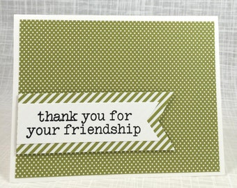Thank You / Notecard / Folded Notecard / Handstamped / Friendship