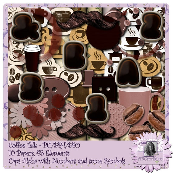 Coffee Talk digital scrapbooking kit with Alphabets and Letters and Papers and Embellishments