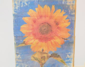 Reclaimed Wood Sunflower Wall Art Transfer from Photograph to Pallets