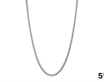 Men's and Women's Chain Necklace, 5mm Box Chain, Rolo Necklace, Square Link Necklace, Durable 316L Stainless Steel Chain with FREE Shipping