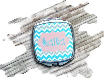 compact mirror, personalized compact, bridesmaid gift, mothers day gift, monogrammed gift, monogramed item, pocket mirror, stocking stuffer
