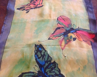 Colorful butterfly silk scarf