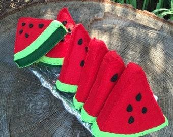 Felt watermelon slice. Play food. Felt food. Watermelon. Felt toys. Toy food. Pretend kitchen. Montessori toy. Waldorf inspired toy