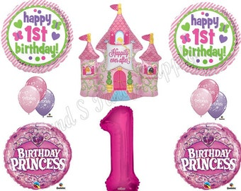 GIRL'S PRINCESS Castle 1ST First Birthday Party Balloons Decoration Supplies