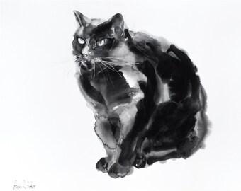 Black cat -original watercolor painting