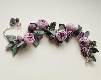 Polymer clay flower pink peony flowers bracelet