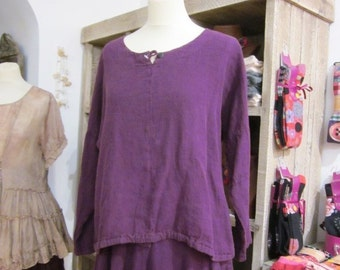 Tunic 100 % purple linen, Ninni, sizes S and M (US-4 / 6 and 6/8)