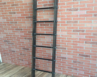 Industrial Style Ladder with Cedar Wood and Pipe