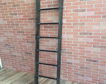 Wooden Ladder with Iron Pipe