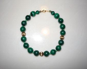 Malachite Bead and 14K Gold Bracelet