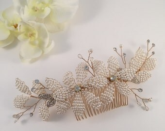 Pearls flowers, pearls headpiece, headpiece, hair comb, bridal headpiece, bridal hair comb, pearls headpiece, hair jewelry, hair jewellery