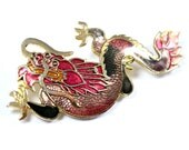 Vintage Chinese dragon brooch, cloisonne dragon pin, pink enamel, dragon brooch, goldtone, Far East jewelry, traditional Chinese