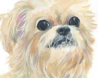 """6x6"""" // Custom Dog Portrait //  Original Gouache Painting on Archival Watercolor Paper"""