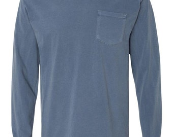 BLANK Long Sleeve Comfort Colors Pocket Tee, All Colors, S-3XL