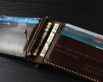 Men's Leather Wallet / Personalized Leather Wallet /Money Clip/ Handmade Leather Wallet /Perfect gift for him /Boyfriend gift/ VD78