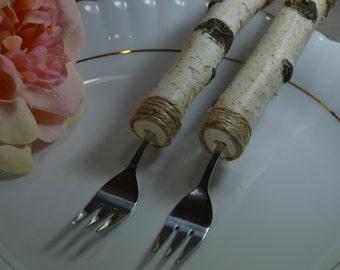 Wedding Forks, Wedding Cake Forks, Wedding Gift, Wedding Table Setting, Wedding Decor, Forks witch natural Birch