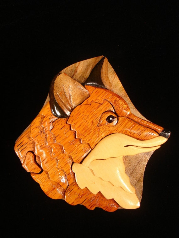 Hand carved wood art intarsia fox puzzle jewelry by