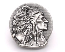 """Right Facing Indian Chief Head Concho Antique Nickel 1-1/4"""" 3666-21 by Stecksstore"""