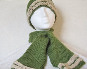 "Men's Hat & Scarf Set - hand knit in light olive and beige sport-weight yarn. 23"" circumference, plenty stretch. Cool weather gift for men!"
