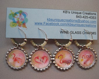 Flamingos Bottle Cap Wine Charms - Set of 4