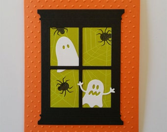 Ghosts in the Window Halloween Card Kit of 4