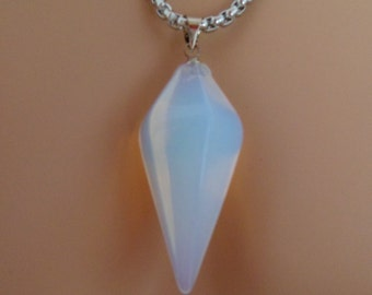 pendulum necklace, white opal pendant, titanium chain