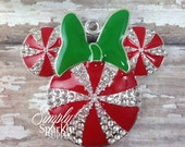 SALE 41mm Christmas Peppermint Candy Swirl Minnie Mouse Inspired Red, White & Green Rhinestone Pendant Chunky Necklace Beads