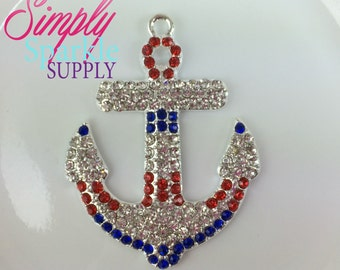 4th of July Patriotic Anchor Rhinestone chunky necklace pendant