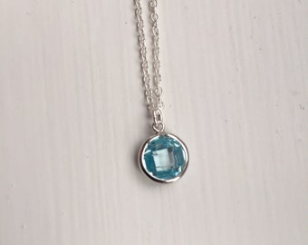 Blue cubic zirconia and sterling silver pendant necklace, blue pendant, baby blue, Christmas gift, stocking filler, gift for her