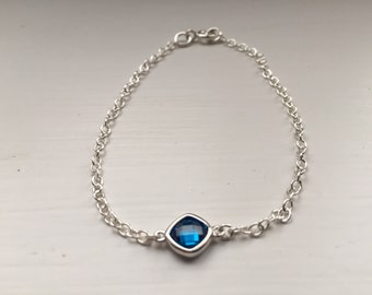 Swiss blue cubic zirconia and sterling silver bracelet, silver bracelet, blue bracelet, Christmas gift, stocking filler, gift for her
