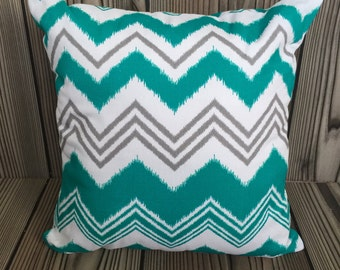 Teal and Gray Throw Pillow, Toss Pillow, Decorative Pillow, Pillow Cover,Cushion Cover, Zazzle Pattern ~ 18in x 18in ~ Envelope Closure