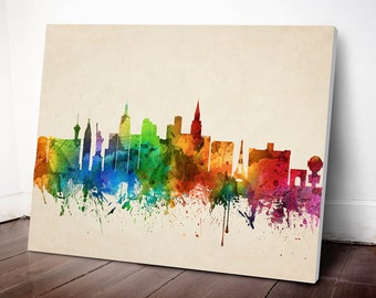 Las Vegas Skyline Canvas Print, Las Vegas Cityscape, Las Vegas Art Print, Home Decor, Gift Idea, USNVLV05C