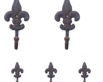 5 Fleur De Lis Wall Hooks Towel Hook Key Hook Victorian Home Decor Rustic Iron