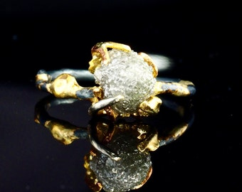Uncut Diamond Engagement Ring Organic Ring 18K Gold Claws