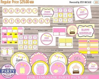 60% OFF Pink Lemonade party package, instant download, sale, pink lemonade party printables, pink and yellow, cupcake toppers, water bottle