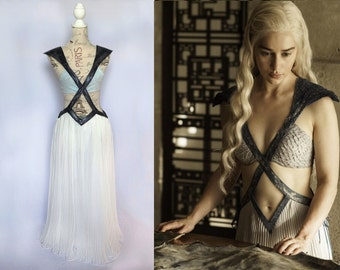 Game of Thrones Costume - Daenerys Season 4 Meereen Dress - Khaleesi Diamond Cutout Cosplay