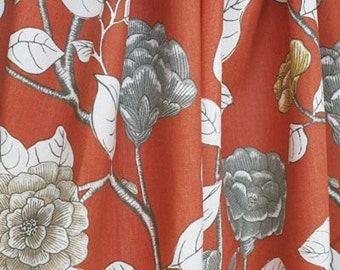 Floral Curtains Leda Peony Drapery Persimmon Dwell Studio Panels  Decorative Robert Allen Curtains Persimmon Gray Curtains ONE PAIR