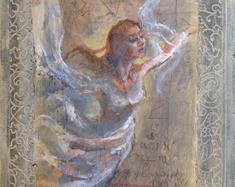 Taking Flight original mixed media painting 7 by 10 on vintage book cover  Dance Dancer Fly Flying Wall Art