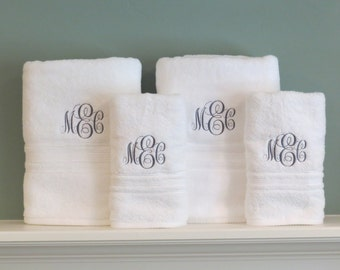 Monogrammed towel set, wedding, anniversary, graduation gift