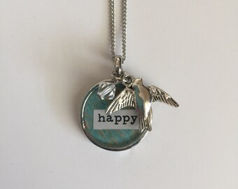 Happy - Bezel Necklace with Charms