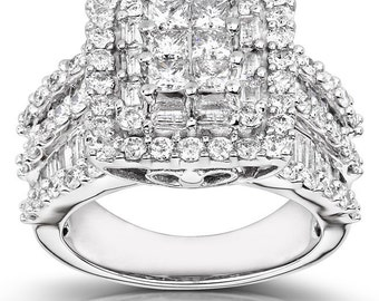 Diamond Engagement Ring 3 carats (ctw) in 14K White Gold