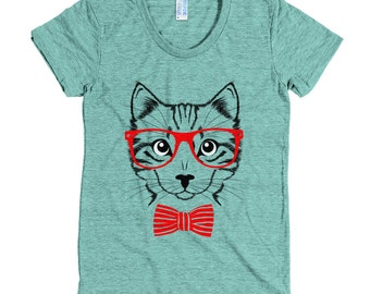 Hipster cat - American Apparel Tri-Blend Short Sleeve Women's Track T - Made in USA