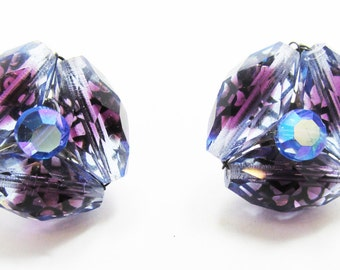 Iridescent Vintage 1950s Signed Vogue Purple Bead and Rhinestone Earrings