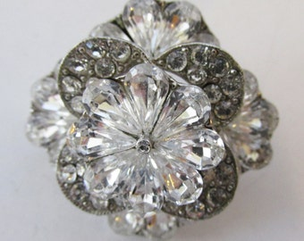 Vintage - Collectible - Clear Rhinestone Floral Pin - Jewelry - Silver - Rhinestone - Floral - Pin - Brooch - Flawless - Women - Gift