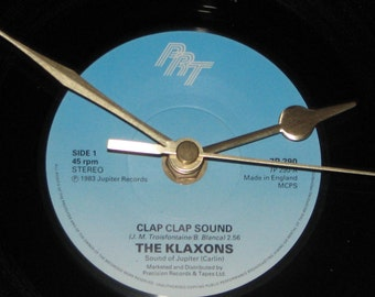 "The Klaxons clap clap sound 7"" vinyl record clock"