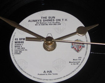 "A-HA the sun always shines on t.v  7"" vinyl record clock"