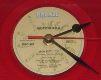 "Motorhead iron fist 7""red vinyl record clock"