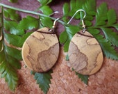 Rare Pale Moon Ebony Exotic Wood Earrings handcrafted by ExoticwoodJewelryAnd ecofriendly organic